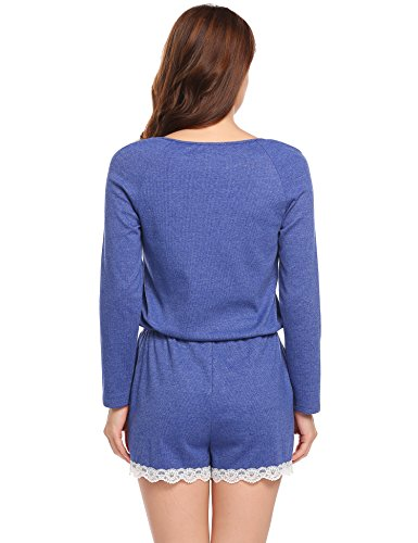 ADOME Damen Jumpsuit Langarm Schlafanzug Kurz Knopfleiste Pyjama Hausanzug Lila782