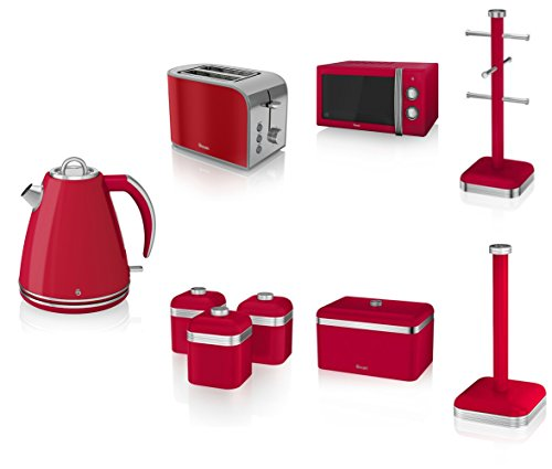 Swan Kitchen Appliance Retro Set - Red Manual Microwave, 1.5l Jug Kettle, 2 Slice Toaster, Retro Breadbin And 3 Canisters Set, 6 Mug Tree And Kitchen Roll Stand Towel Pole