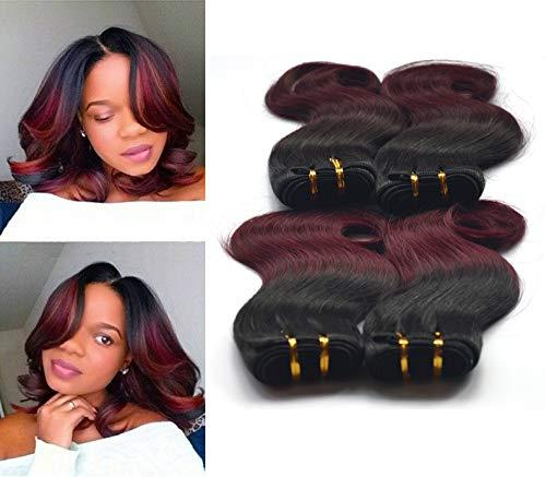 Greemeo Brazilian Body Wave Virgin Hair 4 Bundles 100% Real Remy Human Hair Brasilianisches Gewellt Echthaarbündel Kurze Weave 200 gramm pro packung (50 gramm pro bundle) (8 8 8 8 zoll, 1b/99j) (Nähen Remy-haar-erweiterungen)