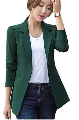 Betrothales blazer primaverile forti tailleur donna moda giacche business autunno taglie slim fit maniche lunghe formale ufficio giacca da cerimonia elegante bavero (color : grün, size : 3xl)