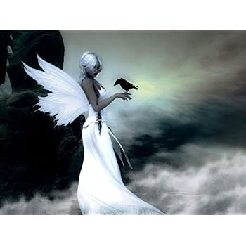 BEAUTIFUL ANGEL FANTASY CANVAS PRINT No 4 (**AMAZING QUALITY FRAMED