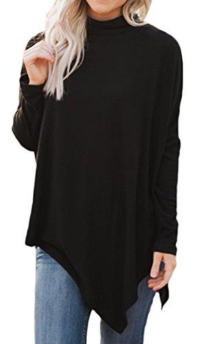 Yeesea Femme Col Haut Manches Longues Sweatshirts Pull Pullover Tunique Noir