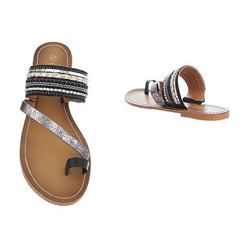 Ital-Design Zehentrenner Damenschuhe Sandalen Sandaletten Schwarz Silber