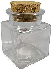 Idea Regalo - 48x Barattoli bomboniera confettata in vetro quadro quadrato con sughero 4cm