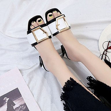 LvYuan Da donna Sandali Comoda Gomma Estate Footing Comoda Heel di blocco Nero Rosa Meno di 2,5 cm Black