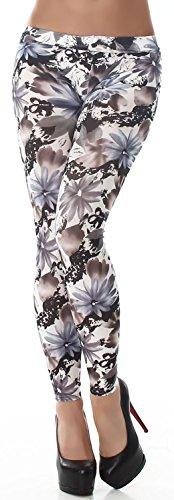 Q.A. Damen Leggings lang in verschiedenen Designvarianten, blau Blume 3 Größe 34-40