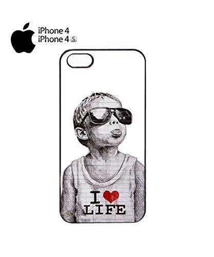 Banksy Kid I Love Life Heart Tongue Child Naughty Children Mobile Phone Case Cover iPhone 6 Plus + Black Noir
