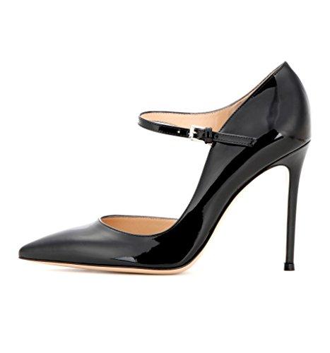 EDEFS Femmes Artisan Fashion Mary Janes Classiques Uniques Soirée Chaussures à talon haut de 100mm Noir