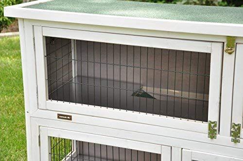 nanook Hasenstall Kaninchenstall Moritz 2, XXL 130 x 49 cm, wetterfest, doppelstöckig, grau weiß - 4