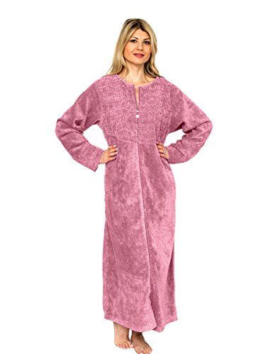 Bath & Robes Damen Bademantel, Baumwolle, Chenille, volle Länge Gr. XX-Large, rosa - Dusty pink -