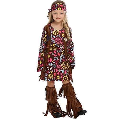 Frieden & Liebe Hippie Kind Kostüm - Godmoy Peace Love 60er / 70er Happy Hippie Kostüm mit Hippie Accessoires für Kinder/Erwachsene, Halloween Role Primitive Men Cosplay Kostüm