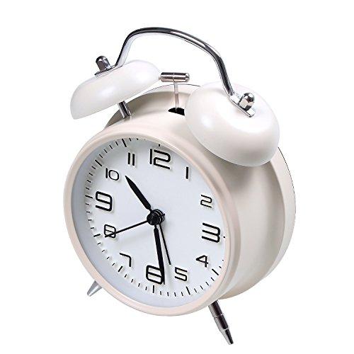 Jiemei, lauter Wecker mit zwei Glocken, batteriebetrieben, Wecker mit stereoskopischem Zifferblatt, Nachtlicht, tickt nicht, fürs Schlafzimmer, 10,2 cm weiß