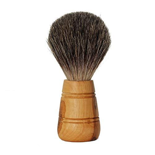 Rasierpinsel aus Dachshaar - perfekte Rasur für Herren | Holzgriff aus hochwertigem Olivenholz | Dachshaarpinsel als ideales Geschenk für Männer