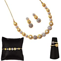 Zeneme American Diamond Traditional Fashion Jewellery Combo of Necklace Pendant Set/Ring/Bracelet with Earring for Women/Girls (White)