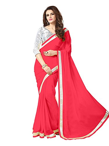 sarees(TreadIndiaa Women's Georgette Red plain boder work saree)