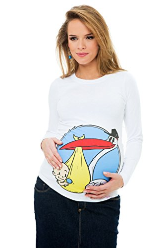 Umstands-Shirt Mutterschafts-Shirt Langarmshirt Storch mit einem Kind Geschenk XXL (xxl-large) weiß Umstandsmode von MY TUMMY ®©™ (Mutterschafts-t-shirt Monat)