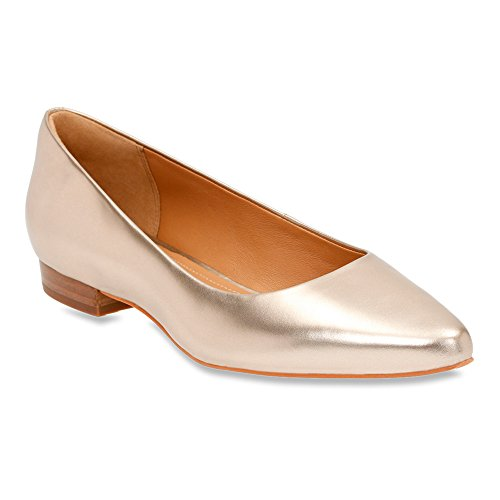 Clarks Corabeth Abby Flat Champagne Full Grain Leather