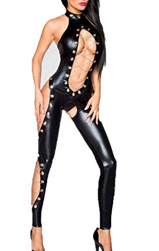 Schwarzer Damen Wetlook Overall mit Ösen und Cutouts vorn offen mit Schnürung aus Metallketten ouvert glänzend L
