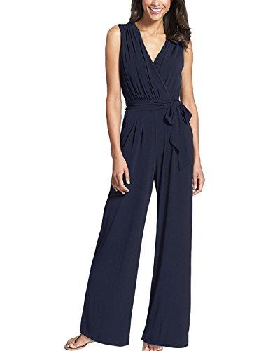 Auxo Femmes Sexy Col V Sans Manches Jambières Large Pantalons Palazzo Taille Haute Long Pantalons Combinaisons Bleu
