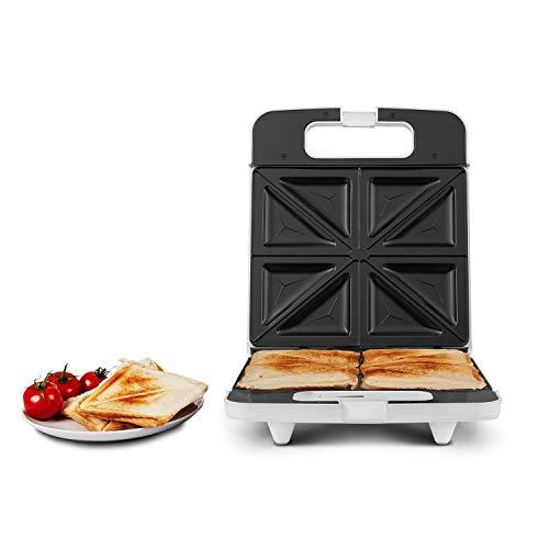 MEDION Sandwich-Toaster Sandwichmaker für bis zu 4 Sandwiches, 1400 Watt, Antihaftbeschichtung, Temperaturkontrolle, Cool-Touch-Griff, MD 18153, weiß