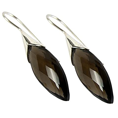 Unique faceted Smoky Quartz Drop Earrings 925 Sterling Silver 13 Carat Marquise- Navette Cut Jeweller's Quality Art