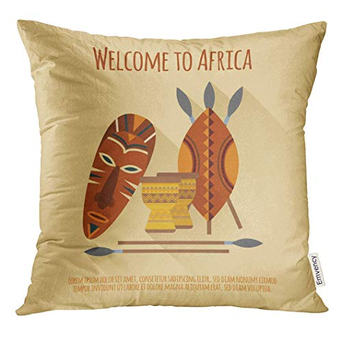 KJDFH Kissenbezug,Throw Pillow Cover Welcome to Africa Flat Authentic Cultural Symbols with Mask Shields Spears Djembes Abstract Decorative Pillow Case Home Decor Square 18x18 Inches Pillowcase (Cover Djembe)