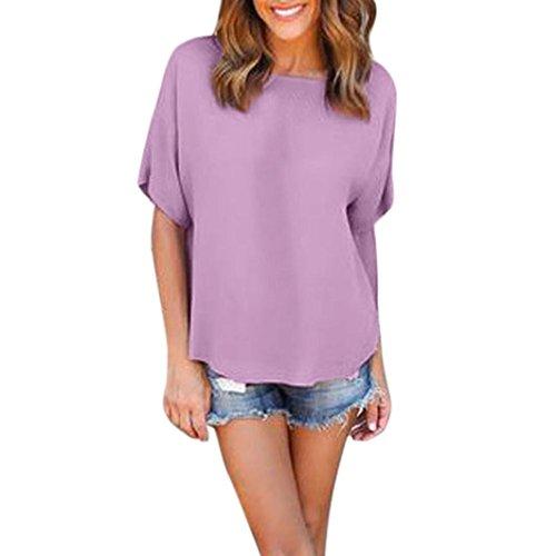 s Kurzarm Lose UnregelmäßIge T-Shirt Weiche Zipper Bluse Top T-Shirts Plus GrößE (XL, Violett) (Zitate über Halloween Und Familie)