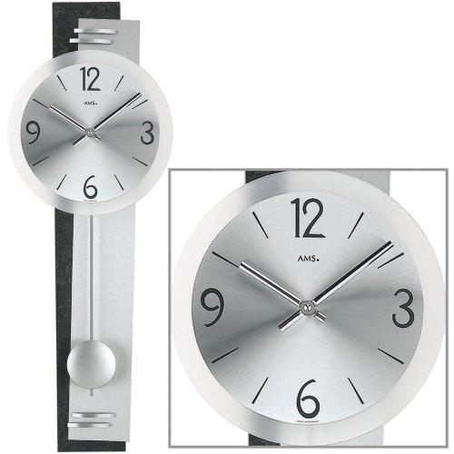 pendeluhr-ams-wanduhr-7255-quarz-mit-pendel-schiefer-applikation-geschliffenes-aluminium
