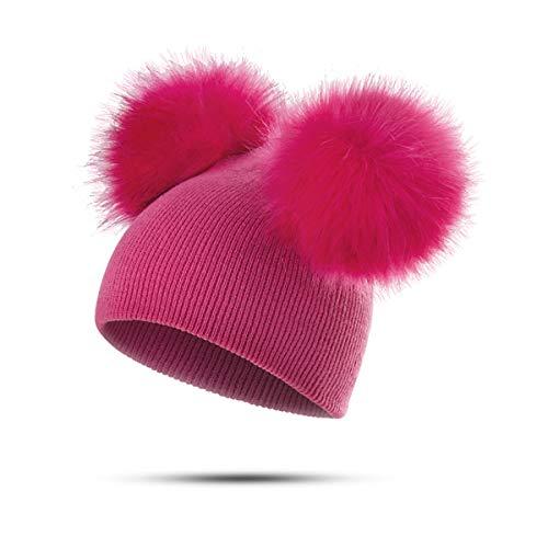 Peng sheng cappellino in cotone per bambini carino color caramello forma di volpe finta 2 palle per capelli rimovibili cappello beanie caldo