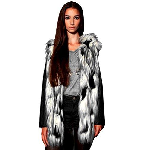 Yilianda donna cappotto senza maniche giacchetto faux fur lungo giacca parka l