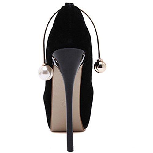Oasap Damen Rund High Heels Mit Perle Pumps Black
