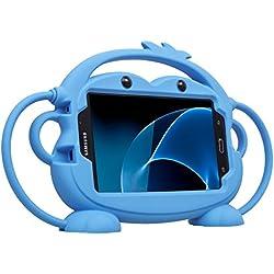 CHIN FAI Samsung Galaxy Tab 3/4 / A/E Lite 7 Pouces Tablet Case pour Les Enfants, Cartoon Double Face Singe Silicone Housse de Protection Grip Stand pour Samsung Modèle P3200 / T113 / T230 (Bleu)