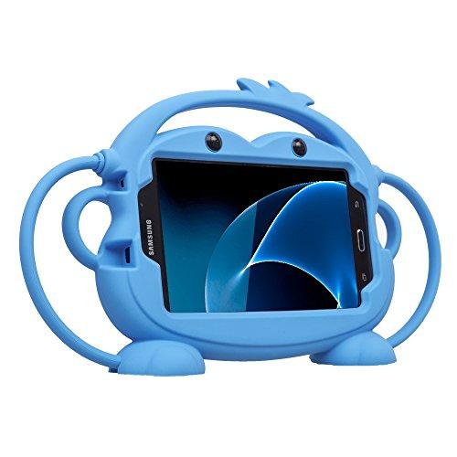 CHIN FAI Samsung Galaxy Tab 3/4 / A/E Lite 7-Zoll-Tablet-Fall für Kinder, Cartoon doppelseitigen AFFE Silikon-Schutz-Cover-Griff Standplatz Fall für Samsung Modell P3200 / T113 / T230 (Blau)
