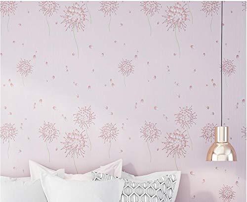 CHLCH Romantische Löwenzahntapete 3D Stereo-TV Hintergrundbild Schlafzimmer Schlafzimmer Wohnzimmer Tapete hell lila