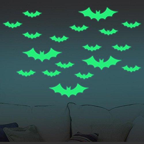 Upxiang Neuer abnehmbarer leuchtender Wand-Aufkleber, glücklicher Halloween-Abziehbild, Haus-Haus-Raum-Wand-Aufkleber-Wanddekor (Schläger)