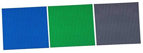 """Stapelbare Premium-Bauplatten - inkl. 50 Bausteinen mit 2 x 2 Noppen - kompatibel mit allen Marken - für Turm-Konstruktionen - Set aus 6 Platten - je 10"""" x 10"""" (25,4 x 25,4 cm) - Blau, Grün, Grau"""