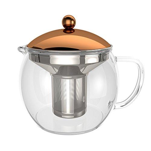 bonVIVO - Théière avec infuseur à thé TEMPA avec passoire en INOX Amovible, théière pour thé en Vrac, théière en Verre borosilicaté résistant à la Chaleur avec Couvercle en cuivre, 1,5 Litre
