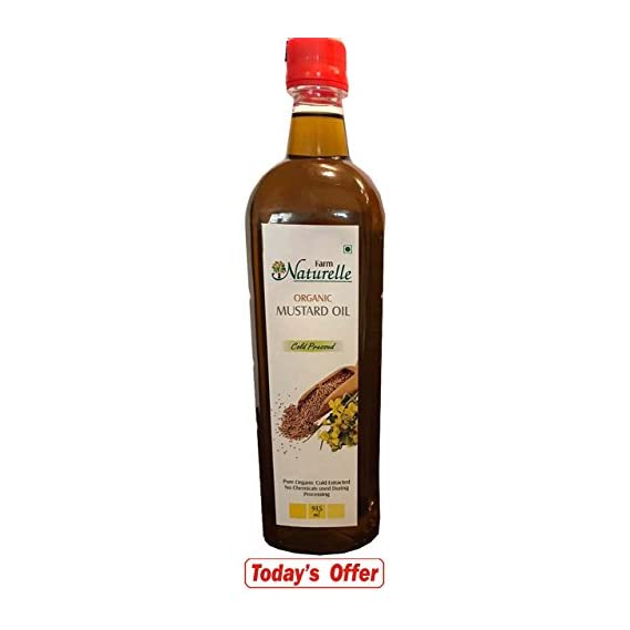 Farm Naturelle Organic Virgin Cold Pressed Kachi Ghani Mustard Oil, 915ml