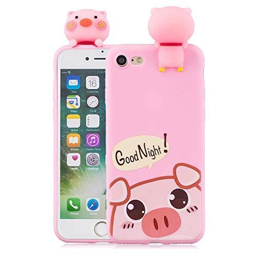 Schutzhülle für iPhone 8 / iPhone 7, DAMONDY süßes 3D-Cartoon-Tier-Muster, weiches Silikon-Gel, dünn, Gummi-Schutzhülle für iPhone 7/iPhone 8, Cute Pig
