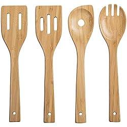 woodluv - Juego de Utensilios de Cocina (4 Unidades, bambú, Resistentes a los arañazos y al Calor)