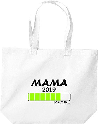 ShirtInStyle grosse Einkaufstasche Loading MAMA 2019 Weiß