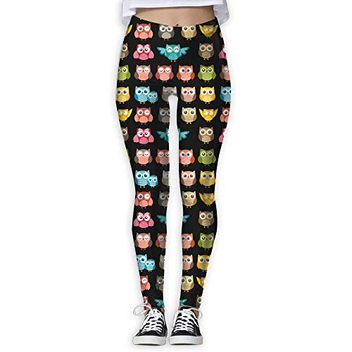 Deglogse Yogahosen, Trainingsgamaschen,Cute Owl Funny Owl Pattern Women's Full-Length Sports Running Yoga Workout Leggings Pants Stretchable -
