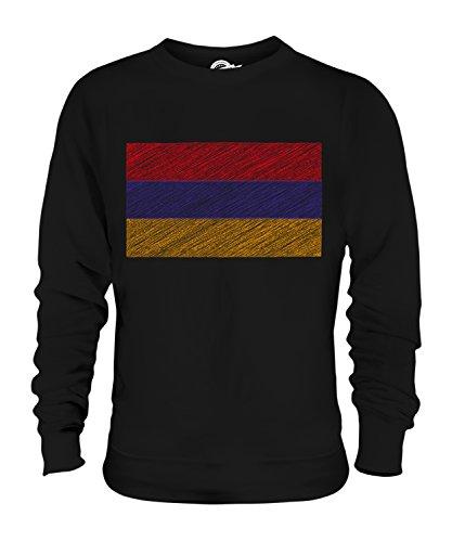 Candymix Armenien Kritzelte Flagge Unisex Herren Damen Sweatshirt, Größe X-Small, Farbe Schwarz