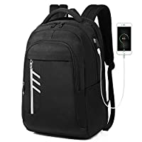 GIM Anti-Theft Backpack, Theft Business Laptop Backpack with USB Charging Port and Earphone Port with Lock Slim Water Resistant Bag Daypack 15.6 Inch Computer Rucksack for Work College (Black)