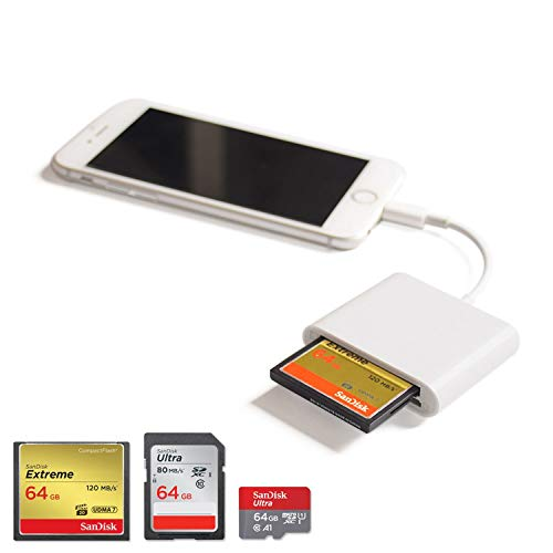 CF Card Reader Kartenleser, Vou Tiger - SD, TF, CF-Trail Kamera Adapter Viewer für iPhone 6 6S 7 8 Plus X XS (Max) XR, iPad Mini/Air/Pro Unterstützen, Keine App erforderlich, Plug and Play