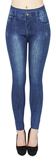 dy_mode High Waist Leggings Damen Hose Jeggings in Jeans Optik ideal für Frühjahr Sommer - OneSize Gr.36-42 - JL078 (JL118-OneSize Gr.36-42)