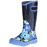 GIRLS BOGS NAVY MULTI FLOWER LIGHTWEIGHT RAIN BOOT WELLIES WELLINGTONS 71927 (UK8/EU24)