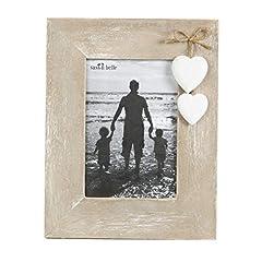 Idea Regalo - Cornice portafoto in legno naturale con cuori bianchi autoportante, shabby chic