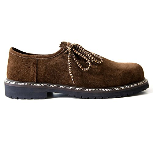 Almbock Trachtenschuhe Monaco-di-Bavaria dunkel-braun - Größe 40 41 42 43 44 45 46, eleganter Schuh für Männer, rustikale zweifarbige Schnürsenkel (Billige Designer-schuhe Kaufen)