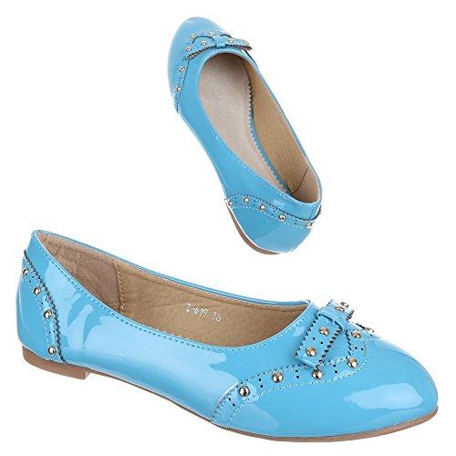 Mit Ballerinas Halbschuhe Nieten Kinder Schuhe 619 Blau Z nBHffqO